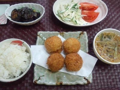 【献立】ポテトコロッケボール、茄子と大葉の味噌煮、大根ときゅうりのマヨサラダ、野菜スープ