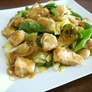 鶏むね肉と春雨のオイスター野菜炒め♪