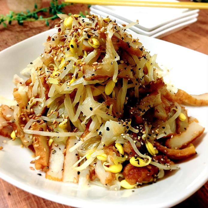 中華スープを使った豆もやしとさつま揚げの炒め物
