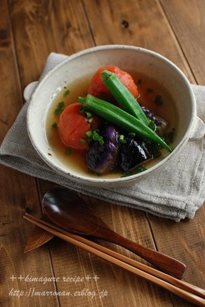 トマトのファルシ 夏野菜の和風スープ仕立て