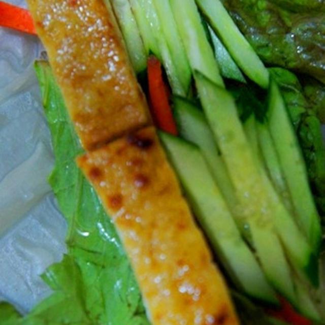 韓国風豆腐の蒲焼の生春巻き、枝豆と山芋のふんわり万頭、鰈煮つけで金麦冷やして待ってるから!