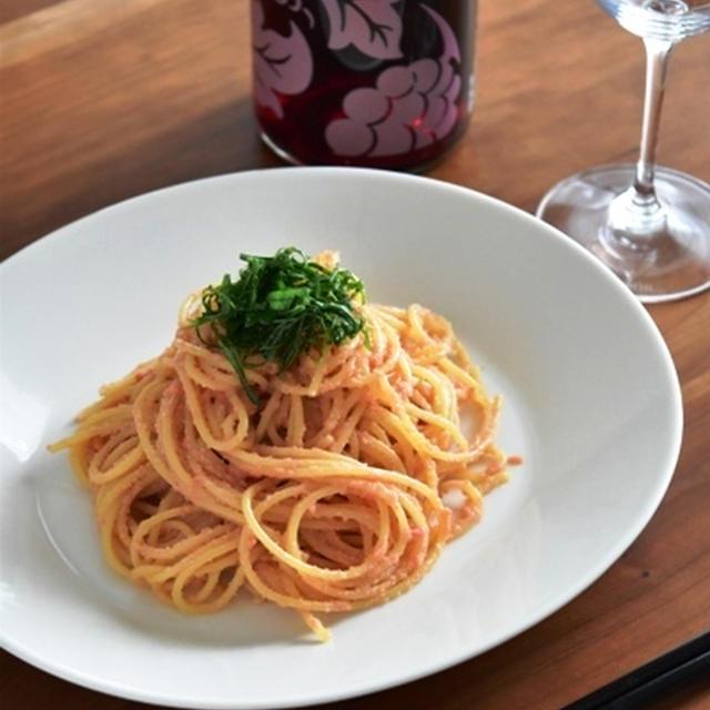 和食とワイン「ごま油香る明太子パスタ」