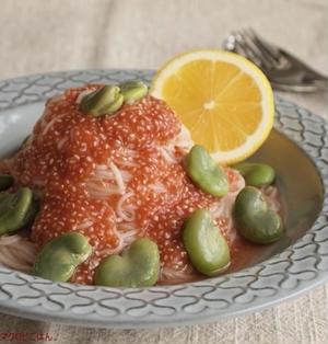 チアシードと空豆の 素麺カッペリーニ