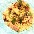 ナスとベーコンのオイルパスタ トマト&バジル風味