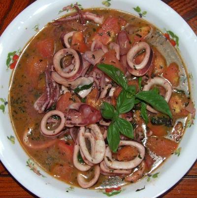 イカとトマトのバジルソース炒め&野菜たっぷり焼うどん&茄子の煮びたし