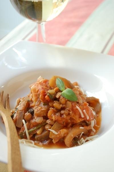 なすとツナとレンズ豆のトマト煮