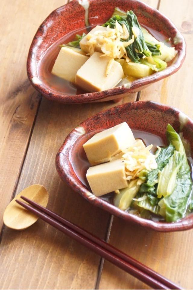 高野豆腐とチンゲンの煮浸し