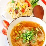 簡単!節約!ふわふわしゅうまいの中華キムチスープ♪