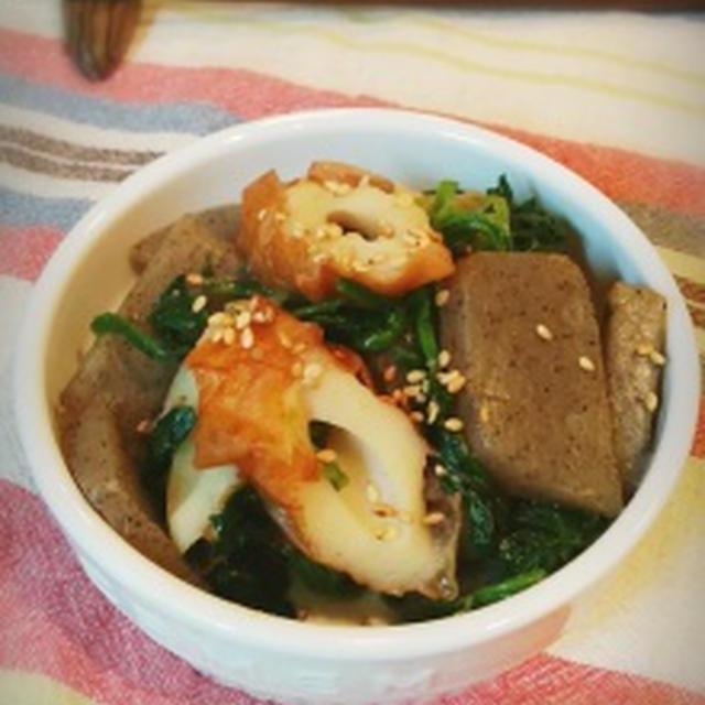 和みの味♡蒟蒻とちくわの甘味噌煮