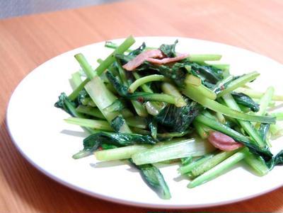 小松菜のオイマヨ炒め