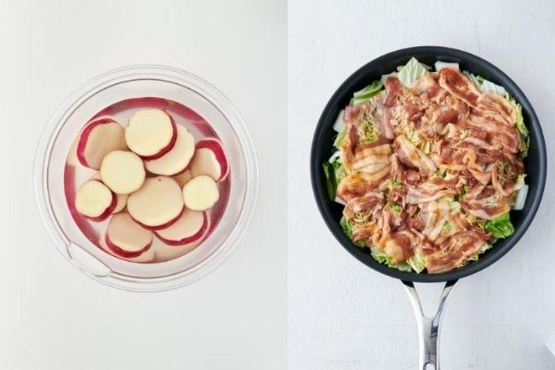 まずは副菜に取り掛かり、レンチンしている間にメインも作って同時に完成!