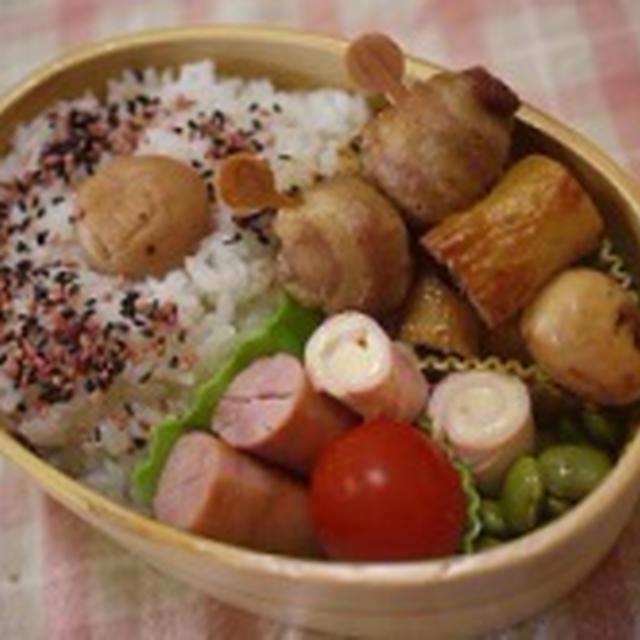 豚バラ薄切り肉のコロコロ焼き弁当&つくれぽ♪ゆで卵DEおくるみベビーちゃん