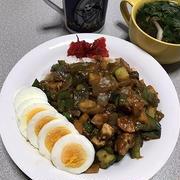 ネギトロ丼と夏野菜ドライカレー