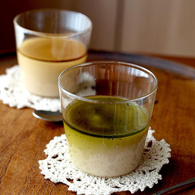 抹茶ソースの豆乳米粉パンナコッタ