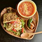 6/17 ダイエットごはん。【ズッキーニブレッドサンドとレンズ豆スープ。】