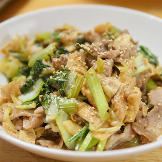 【レシピ】照り焼きタレで炒めるだけ。豚こまと青梗菜の照り焼き炒め