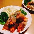 にんじん巻き豚肉のソテー♪コッペパン・シナモンレーズンロール♪