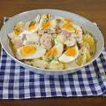 【食パンによく合うポテサラレシピ】卵たっぷり!マッシュルームとハムのポテトサラダ