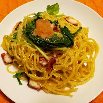 タコと明太子のパスタ~「三食ごはん 海辺の牧場編」の料理です♪