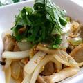 《レシピ有》大葉香る♪黒はんぺんのバター麺つゆ炒め、七田式。