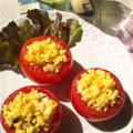 ミディトマトの卵カップ、ミックスビーンズ詰め by outra_praiaさん
