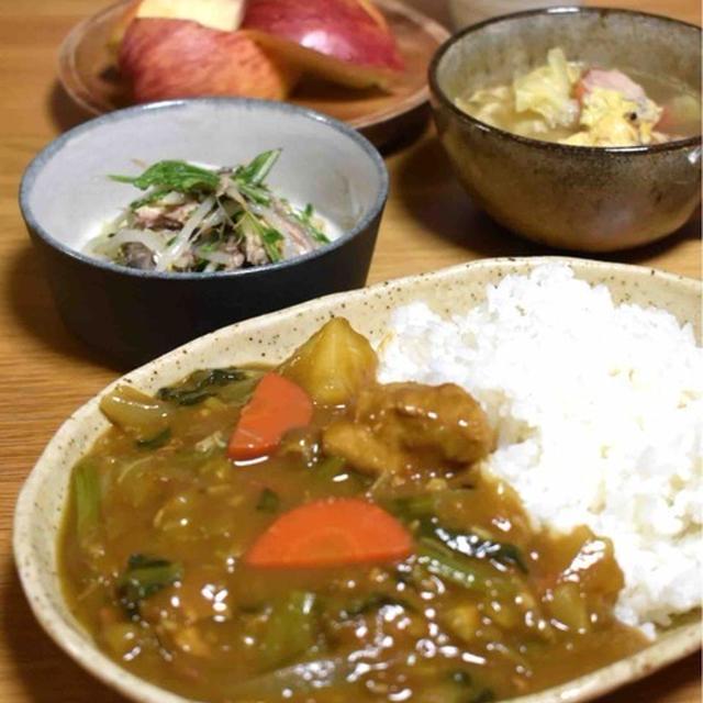 【鯖缶ともやしのサラダ】#5分以内#レンジ調理#簡単#さば缶 …野菜たっぷりカレーライス献立と朝ごはん