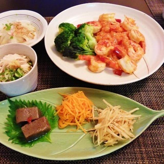 常備菜に助けてもらって晩御飯☆海老のスイートチリ炒め♪