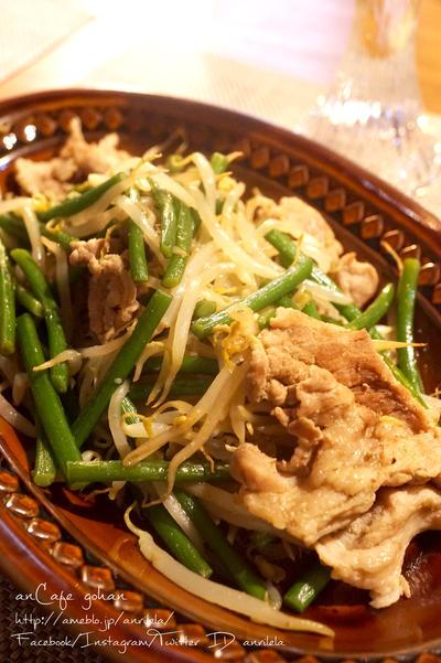 激ウマ!ニンニクの芽と豚肉のもやし炒め*
