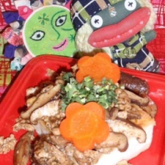 ウェイパーde揚げ焼き豆腐の肉あんかけ&小松菜とカニかまの塩麹ヴィネガーサラダ(お家カフェ)