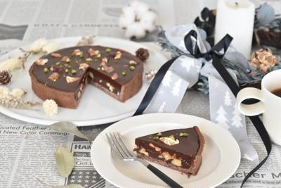 クルミのチョコレートタルト
