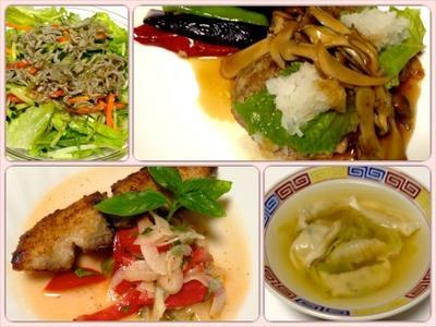 和風キノコハンバーグ、タラのエスカベッシュ、しらすサラダ、餃子とレタスのスープ 8/13まとめ