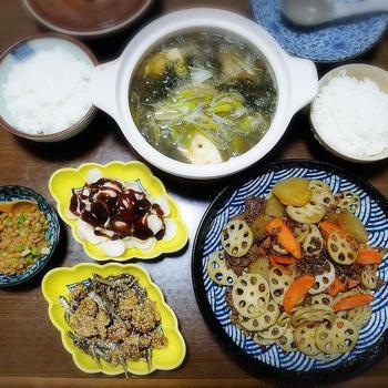 【家ごはん/献立】 カレー風味のきんぴら♪ [レシピ] クルミ入り田作り / 蓮根とひき肉のカレーキンピラ / 青のり豆腐鍋