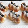 秋色パン☆ブラックベリー&ホワイトチョコカスタード とお惣菜パン by hannoahさん
