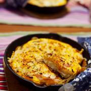 簡単朝ごはん!スライスポテトの重ね焼きチーズオムレツで「ブーケファスト」*スキレット朝食*スパニッシュオムレツ