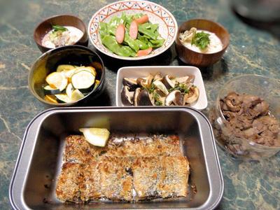 7月10日★超簡単な★揚げない、パン粉も付けない、秋刀魚フライ&やっぱりお野菜たっぷりのお全6品