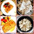 トラウトサーモン、バターレモン・醤油ソテーに松茸ご飯