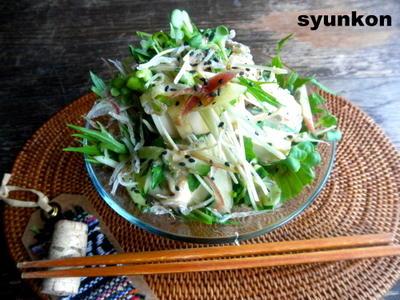 【簡単!!カフェサラダ】豆腐と水菜、大葉、ミョウガ、きゅうりのじゃこゴマサラダ