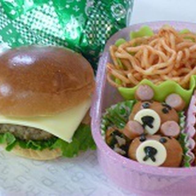 ミニチーズバーガー・くまさんウィンナー弁当~~ 飾り巻き寿司レッスン ばら 梅の花 カエル
