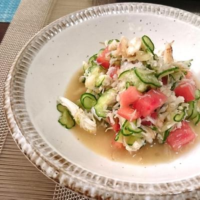 ボイル渡り蟹とトマトで簡単酢の物