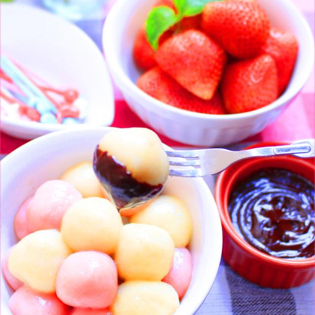 豆腐白玉のチョコレートフォンデュ★忙しい方、必見です!クリスマスにも使える簡単スィーツ❤
