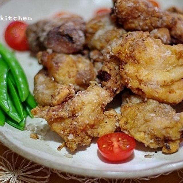 鶏の竜田揚げでお夕飯~!と、ワッフル
