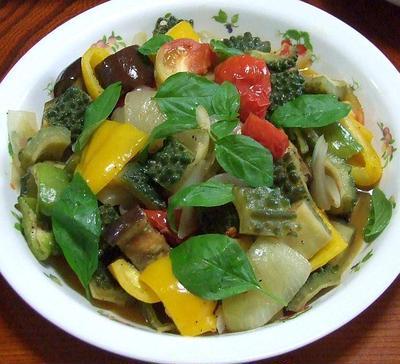 夏野菜の蒸し煮&シタの煮付け