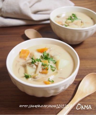 【簡単食べるスープ♡美容健康にきのこチャウダー♡】