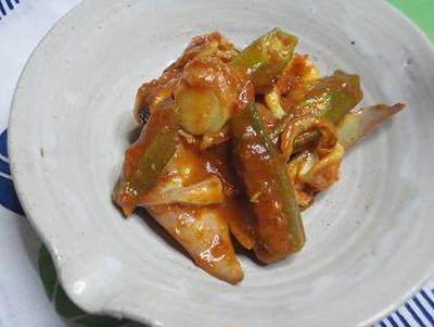 ☆シーフードとオクラのスパイシートマト煮☆