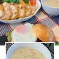 パンレッスンのハンバーガに合わせて、ミキサー使用で手軽にシーフードミックスのクリームスープ~♪♪