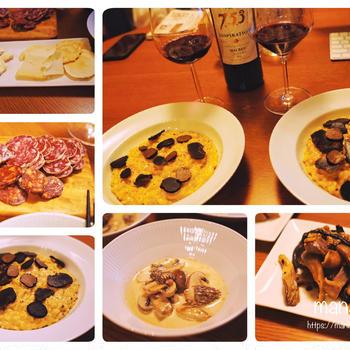 フランス展の食材で!モリーユとマッシュルームのクリーム煮に、キノコのバターソテー、トリュフたっぷりチーズリゾットなど、ワインが進む晩ごはん♪