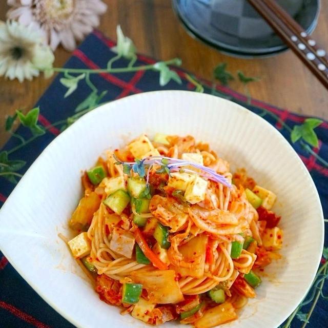 お酒のおつまみに♪キムチときゅうりの『中華風そうめんサラダ』