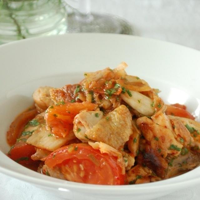 鶏のトマトキムチ炒め