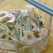 レンコンと水菜でしゃきしゃき☆ポン酢マヨサラダ