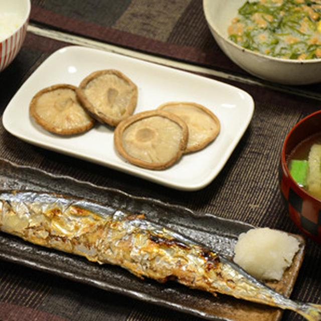 網焼き椎茸と秋刀魚。